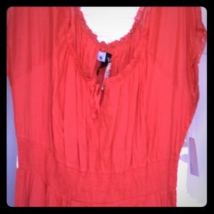 Coral/salmon cotton peasant dress with rosettes